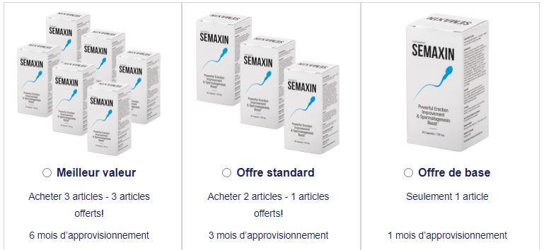 Semaxin - Les packs proposés